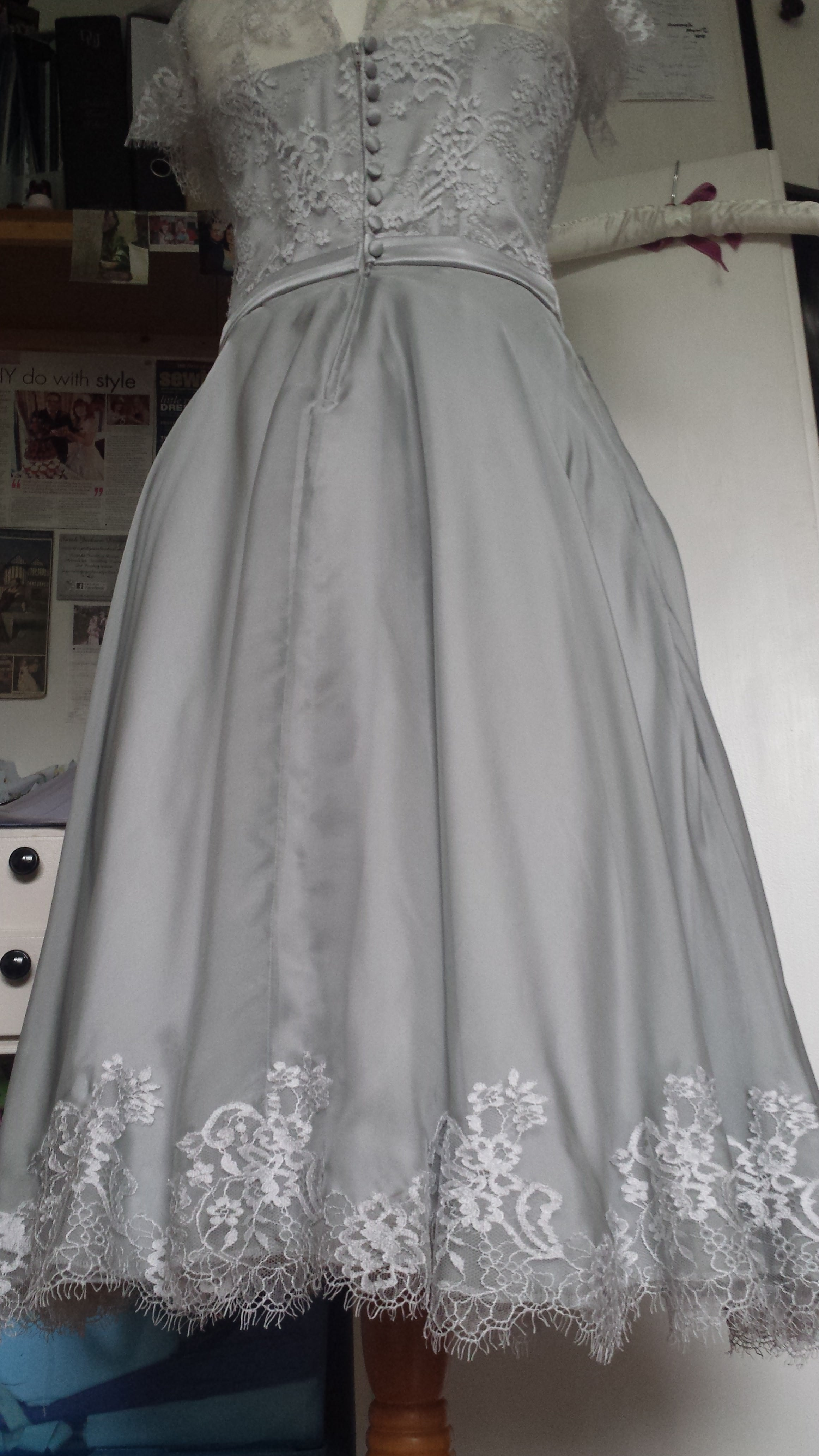 Silver bespoke lace bridal gown