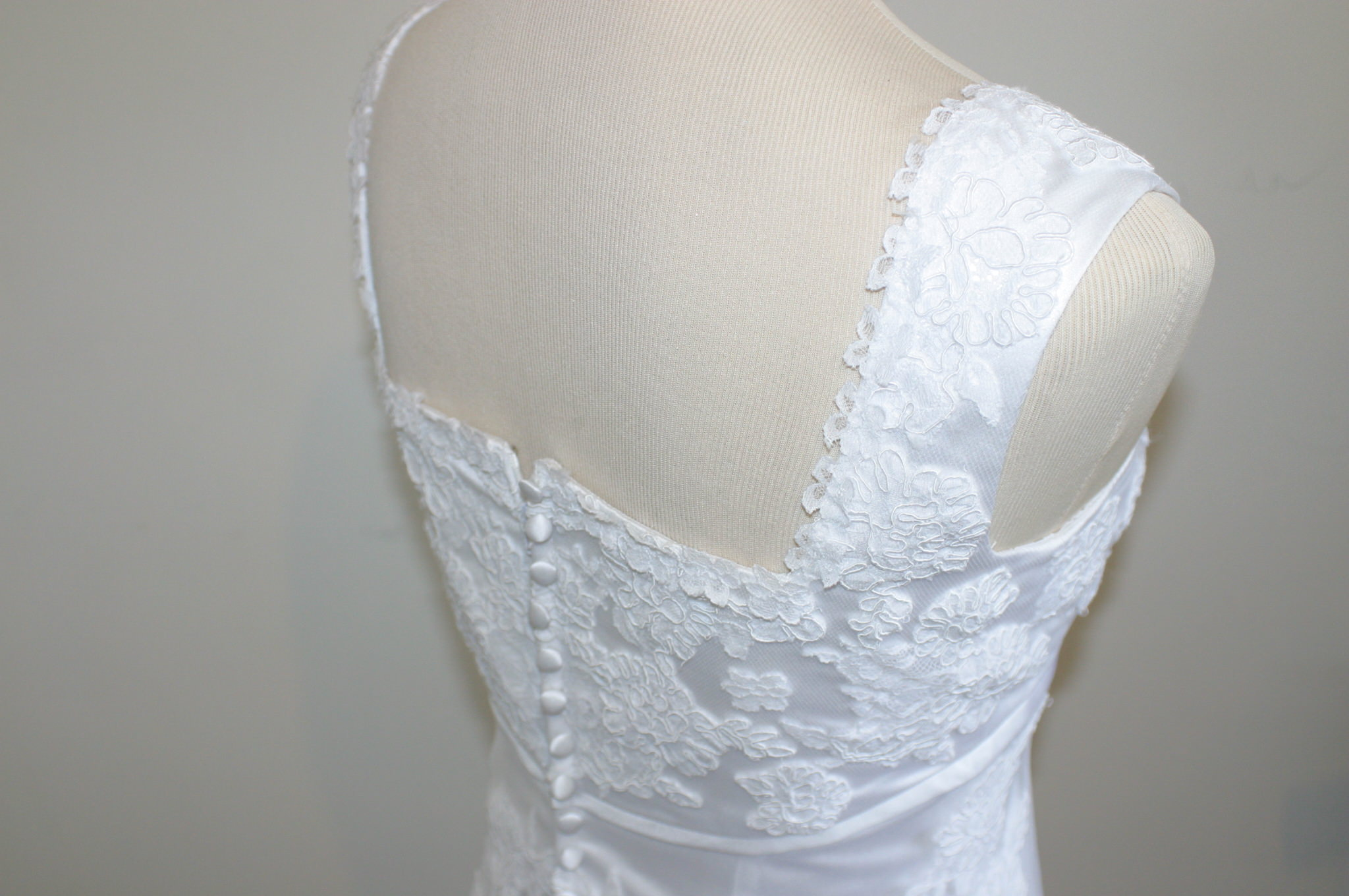 Hand applique lace wedding dress