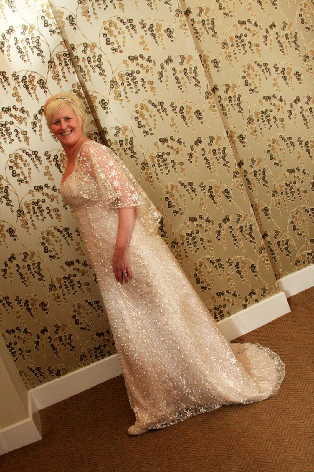 bespoke vintage style lace wedding gown