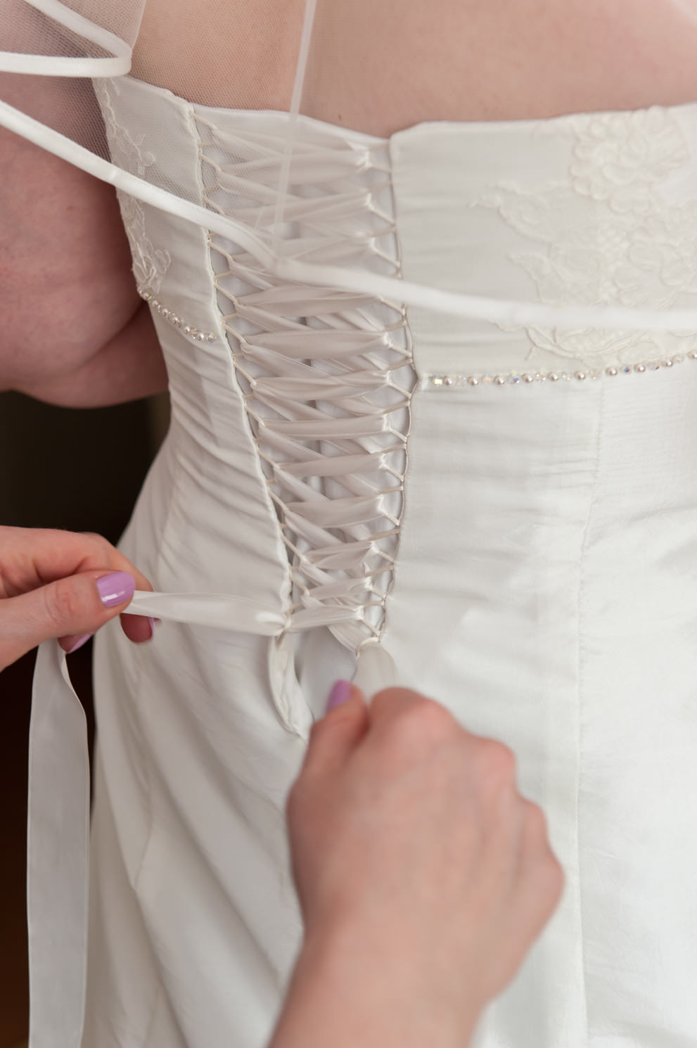 Corset fastening to bespoke wedding dress