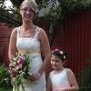 bride amd flower girl in bespoke gowns