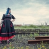 balck and red wedding dress