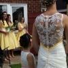 swarovski crystal detail on wedding dress back