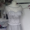 Bespoke silver lace and silk organza wedding dress