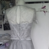 Silver silk and lace bespoke wedding gown