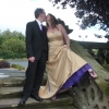 Bespoke handmade golden wedding dress with purple detail