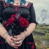 black and red bespoke wedding dress