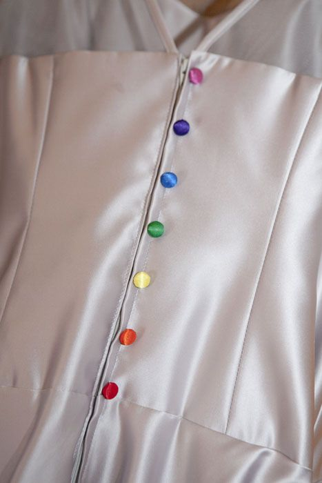 rainbow button bespoke wedding dress