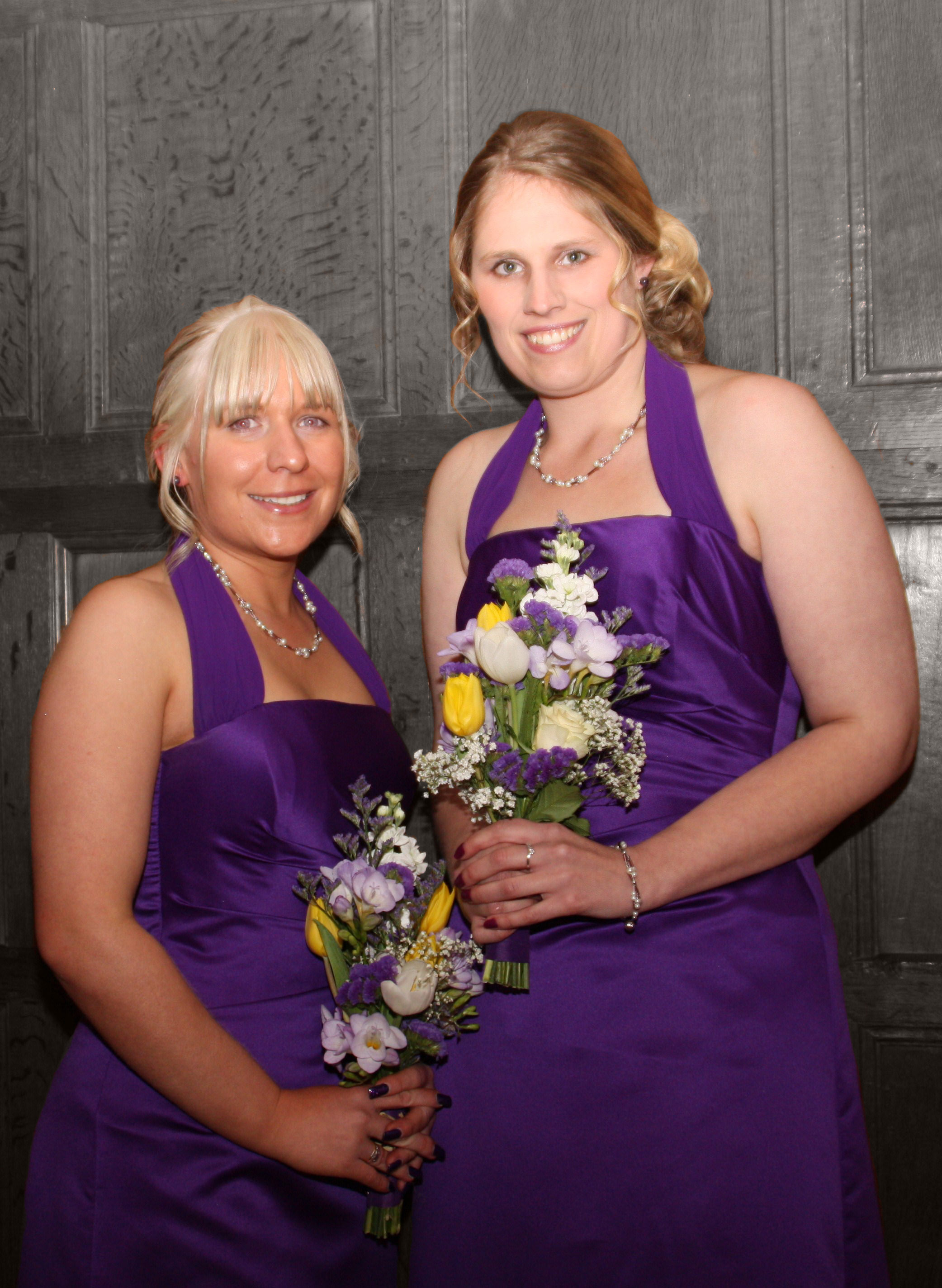 Bespoke purple satin bridesmaid dresses
