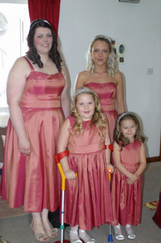 Taffeta fabric detail bespoke bridesmaids dresses