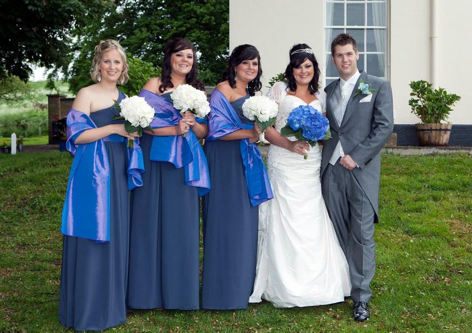 Steel grey bespoke bridesmaids dresses
