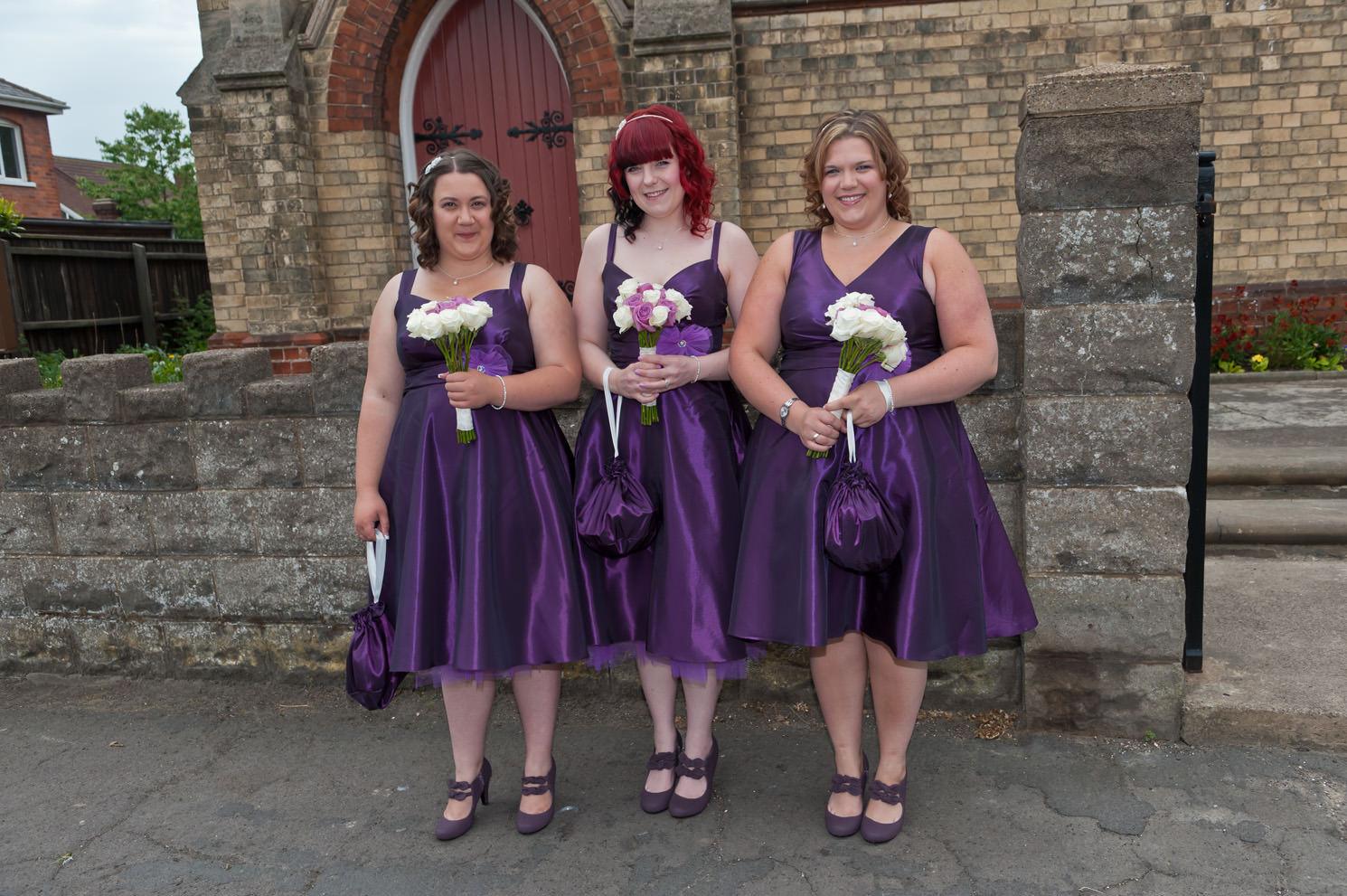 Deep purple taffeta bespoke bridesmaid dresses