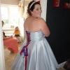 Silver swing style bespoke dress with rainbow petticoat