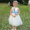 Bespoke flower girl dress in ivory satin and tulle