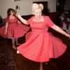 Red polka dot bespoke swing bridesmaid dresses