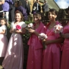 Pretty in pink bridesmaid and flower girl dresses