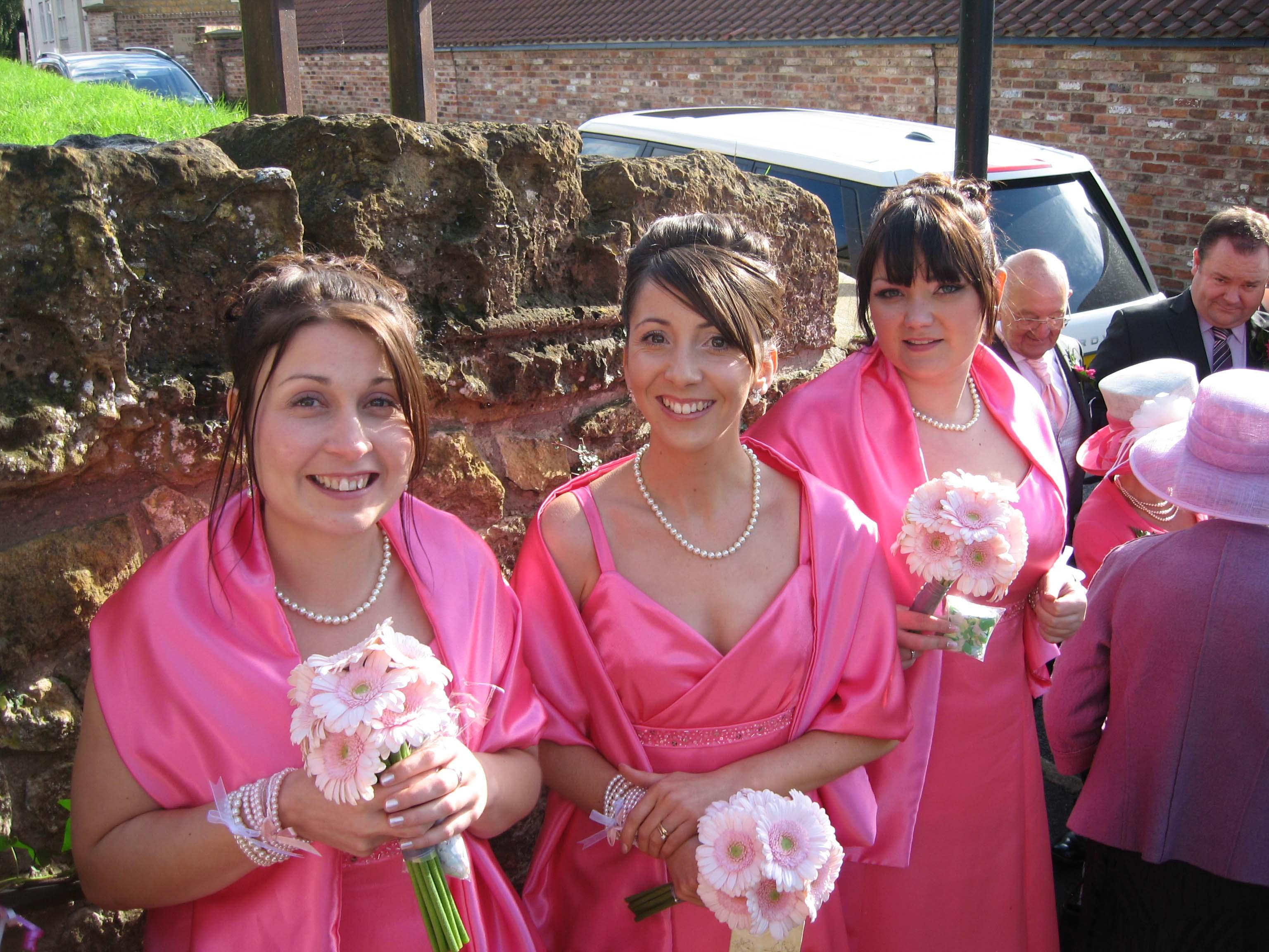 Bespoke pink bridesmaids dresses