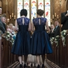 Vintage style navy blue lace and satin swing bridesmaid dresses