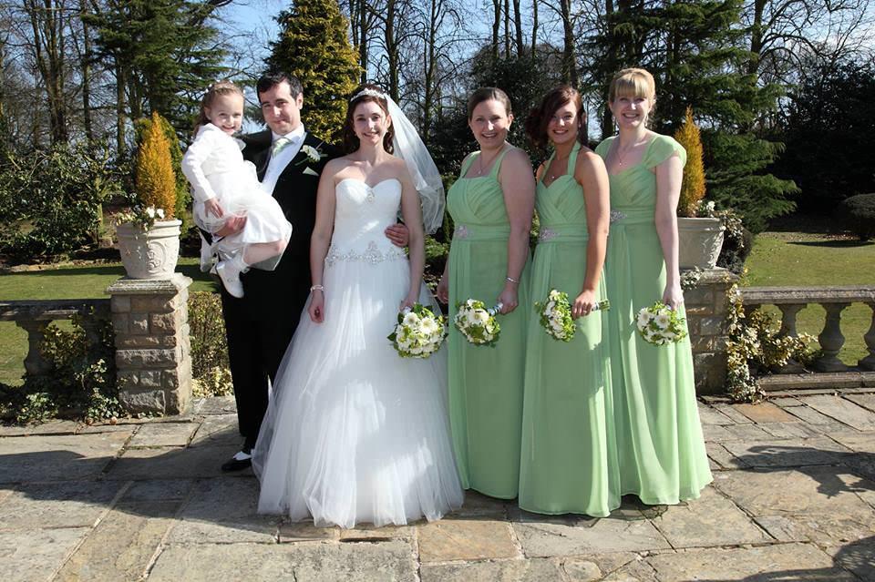 Apple green chiffon bespoke bridesmaids dresses