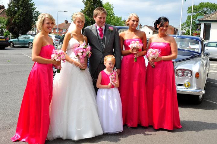 Hot pink bespoke bridesmaids dresses