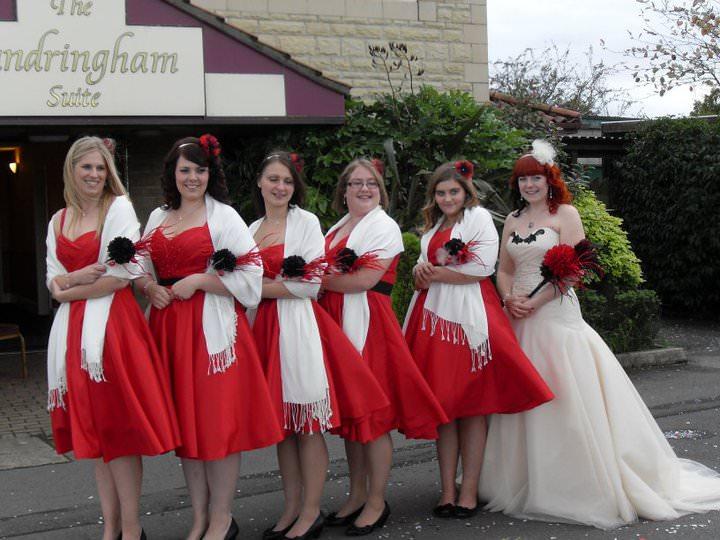 Scarlet red bespoke bridesmaids swing dresses