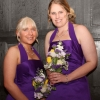 Bespoke purple satin bridesmaid dresses