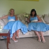 Pale blue bespoke swing style bridemaids dresses