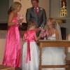 Bespoke bridesmaid dresses in pink satin