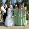 Apple green chiffon bespoke bridesmaids dresses
