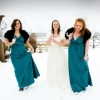 Teal crepe de chine bespoke bridesmaids dresses