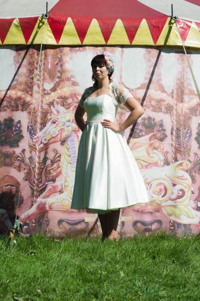 50s style swing wedding dress with lace bolero