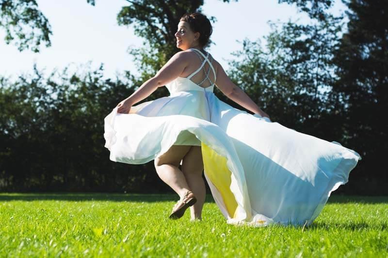 rainbow effect wedding dress
