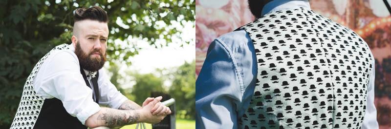 Moustache bowler hat print waistcoat and bowtie