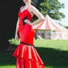 Red satin and black lace wedding gown