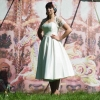 50s style swing wedding dress with lace bolero