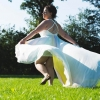 rainbow effect wedding dress