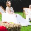 Unicorn wedding gowns with pastel rainbow underlays