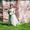 Chiffon unicorn wedding dress with pastel rainbow detail