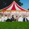 Rainbow circus themed wedding gowns